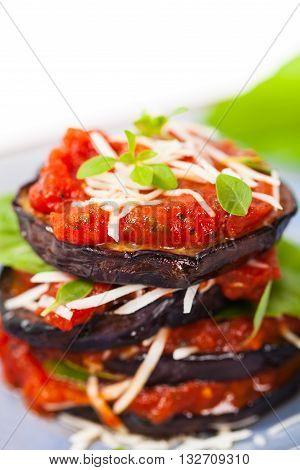 Eggplant Stacks.. Layered Italian Eggplant Appetizer. Selective focus.