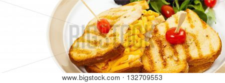 Macaroni and Cheese Sandwich on White Background. Selective focus.