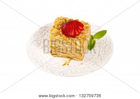 Puff Pastry Napoleon Cake Isolated on a white background. Selective focus.