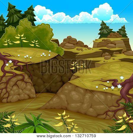 View on a mountain scenery. Vector cartoon illustration