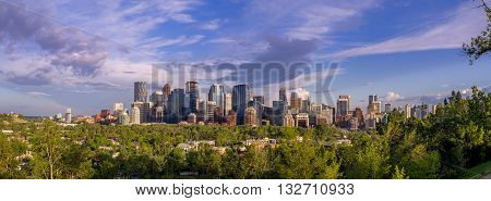 Calgary's skyline with the Bow River valley and city in the foreground.
