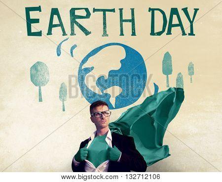 Earth Day Globe Holiday Celebration Concept