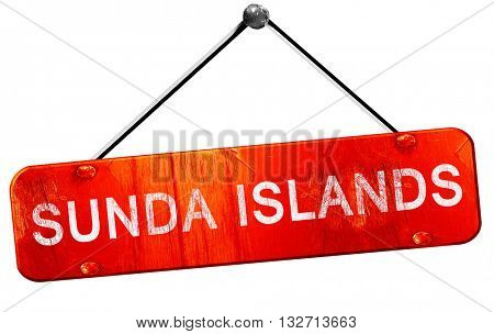 Sunda islands, 3D rendering, a red hanging sign