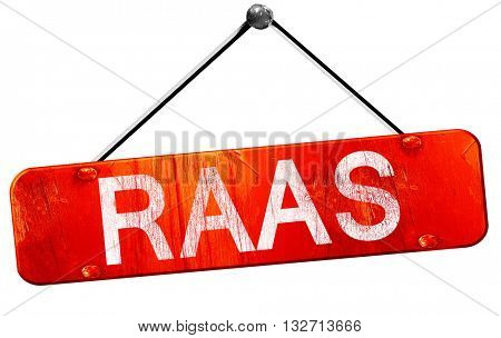 Raas, 3D rendering, a red hanging sign