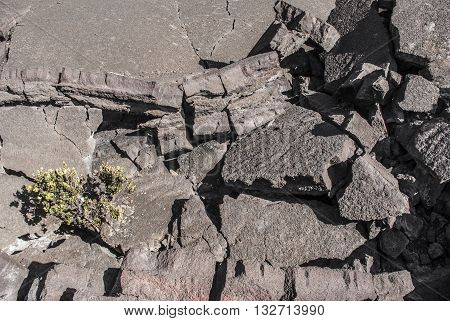 Overhead view of crumbling lava rock in the Kilauea Iki Crater in Volcanoes National Park Hawaii United States.
