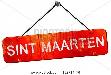 Sint maarten, 3D rendering, a red hanging sign