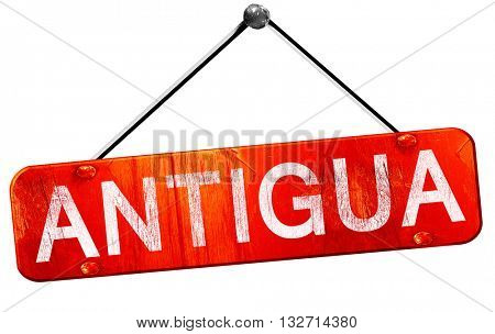Antigua, 3D rendering, a red hanging sign