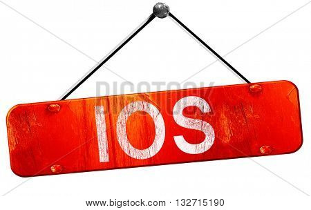 Ios, 3D rendering, a red hanging sign