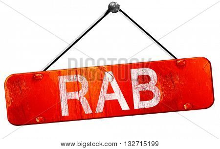 Rab, 3D rendering, a red hanging sign