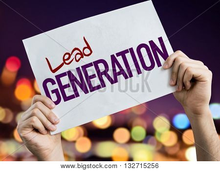 Lead Generation placard with night lights on background