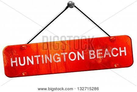 huntington beach, 3D rendering, a red hanging sign