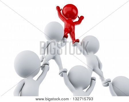 3d renderer image. White people and red man leadership. Leadership and team work concept. Isolated white background.