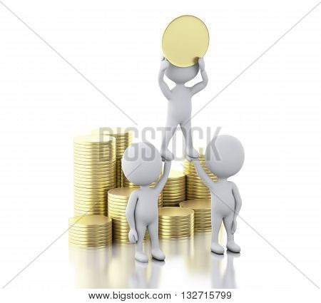 3d renderer image. White people with money. Success and business concept. Isolated white background.