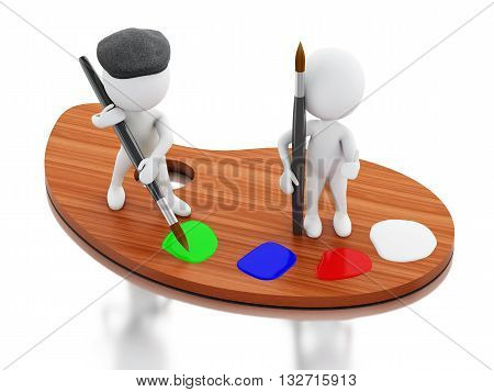 3d renderer image. White people artist painting on color palette. Isolated white background.
