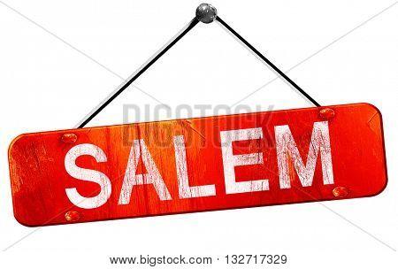salem, 3D rendering, a red hanging sign