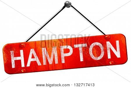 hampton, 3D rendering, a red hanging sign