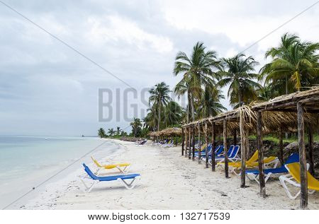 Empty beach chairs waiting for tourists in Cayo Guillermo - Ciego de Avila Province, Cuba.