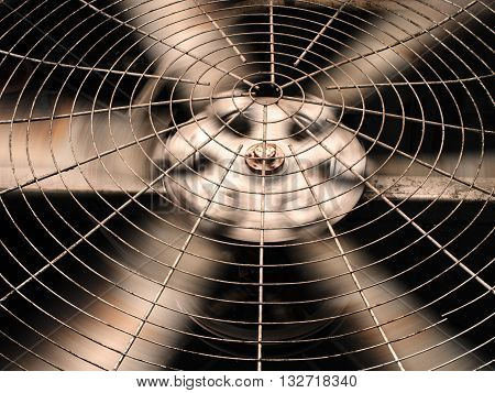 HVAC (Heating Ventilation and Air Conditioning) spining blades / Closeup of ventilator / Industrial ventilation fan background / Air Conditioner Ventilation Fan / Ventilation system