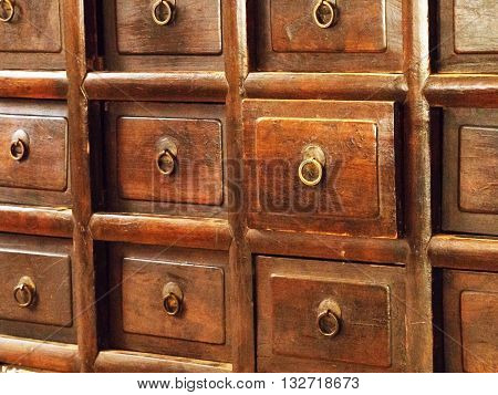 Vintage old wooden drawers. Retro style of wood cabinet.