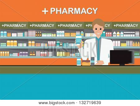 Male pharmacist at the counter in a pharmacy opposite of shelves with medicines drug store Health care conceptual vector illustration.