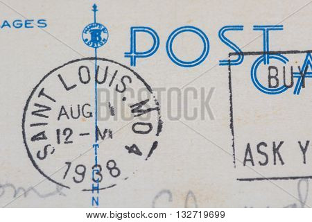 1938 Saint Louis Missouri postmark on postcard