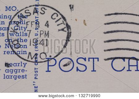 1941 Kansas City Missouri postmark on old postcard