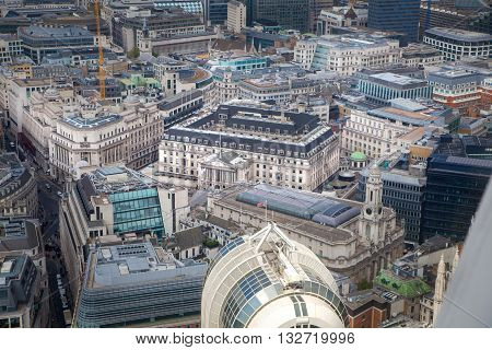 LONDON, UK - OCTOBER 14, 2015; Bank of England and City of London, business and banking aria.