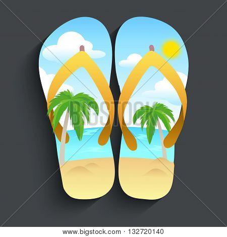 slipper with beach pattern , beach and sun