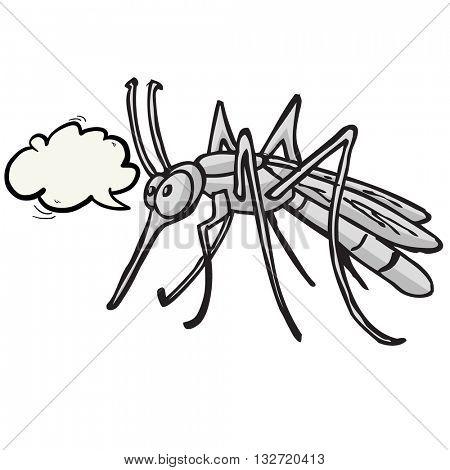 grey  mosquito with speech bubble cartoon