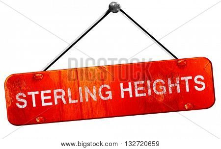 sterling heights, 3D rendering, a red hanging sign