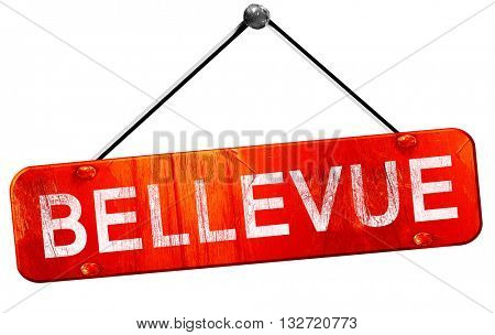 bellevue, 3D rendering, a red hanging sign