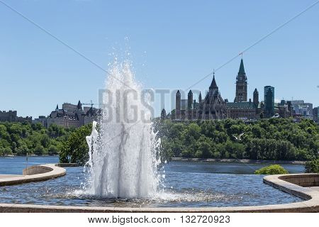Canada's Parliament buildings on a bright and sunny day