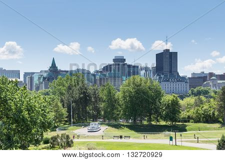 City scape on a bright and sunny day