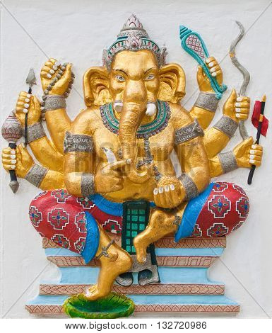 Indian or Hindu ganesha God Named Duraga Ganapati at temple in thailand ;The conviction will be used hand to apply to the Lord for get the wishes.