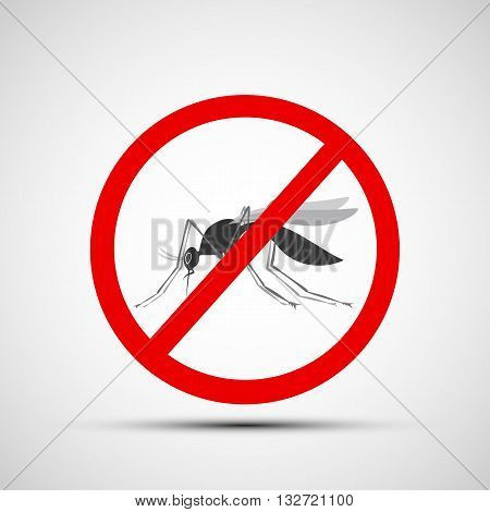 Icon prohibitory sign with a mosquito. Stock vector illustration.