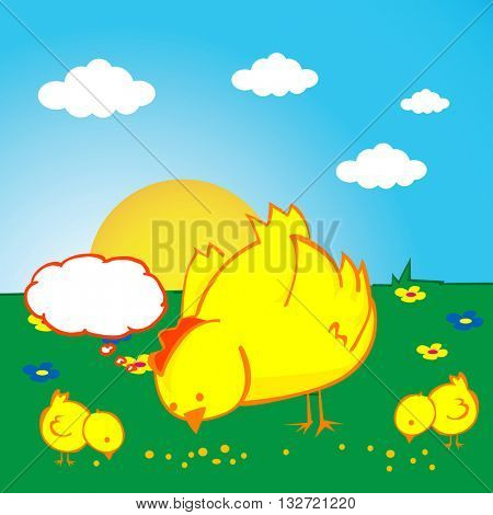 hen with thought bubble and two chickens on a field
