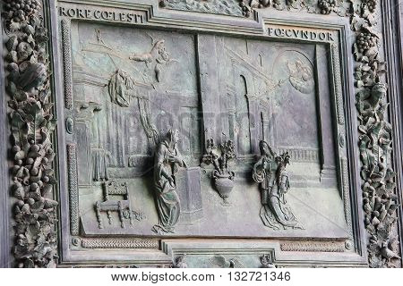 Pisa Italy - June 29 2015: Beautiful antique gate of the Pisa Cathedral on Piazza del Duomo. Province Pisa Tuscany region of Italy