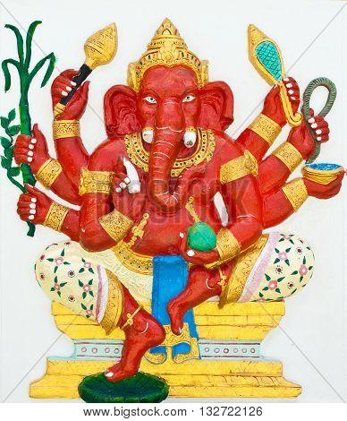 Indian or Hindu God Named Taruna Ganapati at Wat Saman Chachoengsao Thailand