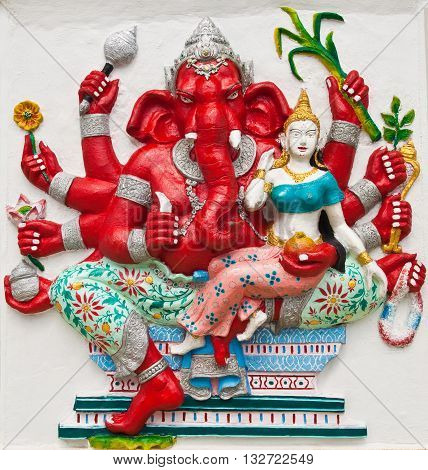 Indian or Hindu ganesha God Named Uddanda Ganapati at temple in thailand ;The conviction will be used hand to apply to the Lord for get the wishes.