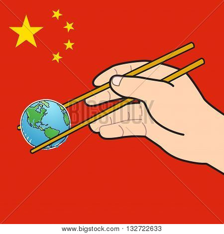 Mini earth in chopstick on red screen with yellow star