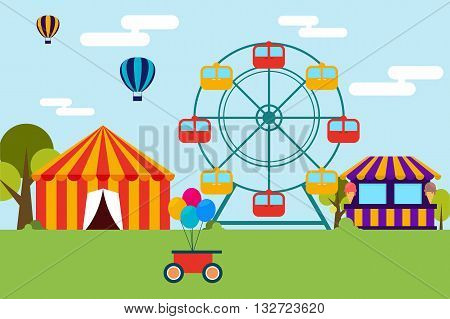 Colorful flat design of amusement park filled with trees and blue sky on the back. The amusement park inclued a couple balloon in the sky colorful balloons in a cart pavillion ferris wheel and ice scream shop.