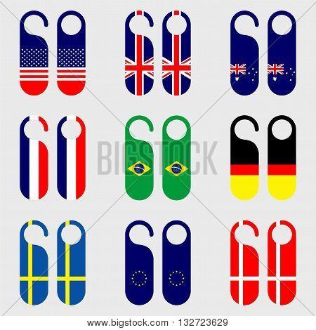 Set of flag door hanger vector illustration