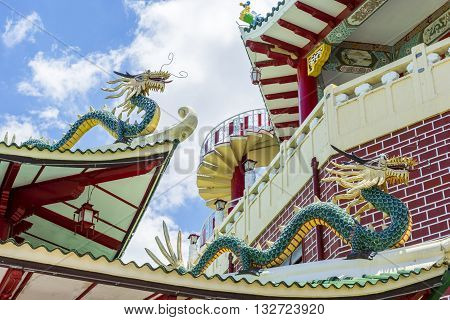 Dragons of taoist temple in Sebu-city at sunny day. Philippines