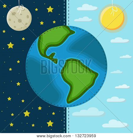 Earth on a background of the day and night. The moon and the starry sky. The sun and sky with clouds.