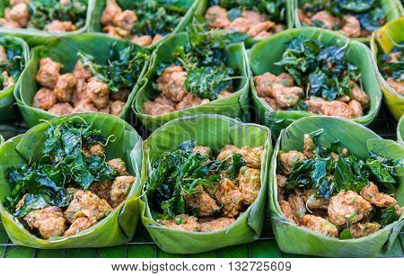 Fried Fish Cakes (Tod Man Pla) for sale in marketThai cuisine.