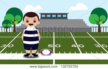 Rugby field with rugby player vector illustration