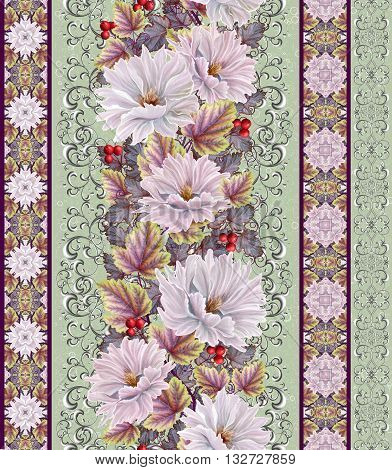 Vertical floral border. Pattern seamless. Old style gold border gold mosaic. Flower garland of white and pink dahlia.