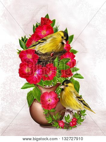 Two little yellow bird. A bird in the nest. The bush of red rose in a pot. Floral background. Old style.