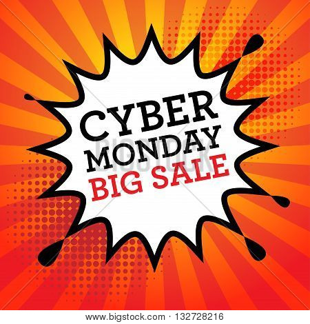Comic explosion with text Cyber Monday Big Sale, vector illustration