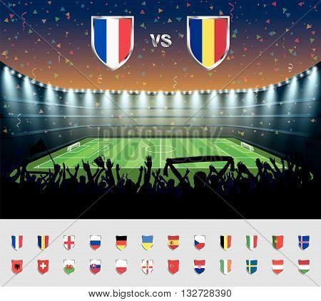 Soccer match France 2016 with excited crowd of people at a soccer stadium. Soccer arena..vector illustration.